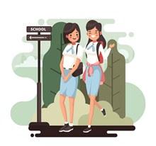 创意上学的2个女学生矢量