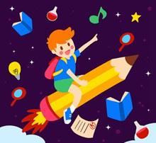 创意坐铅笔火箭的男孩矢量