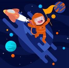 创意太空火箭和宇航员矢量