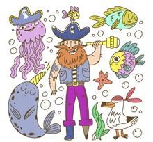 创意独脚海盗设计矢量图