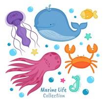 6款卡通海洋动物设计图矢量素材