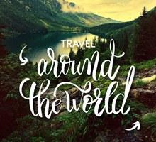 创意山地湖泊风景旅行海报图矢量图
