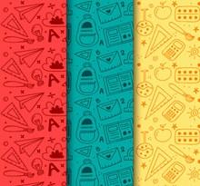 3款彩色文具无缝背景设计矢量图下载