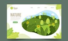 美丽山地风景自然网站登陆页图矢量素材