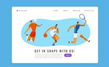 创意运动人物体育网站登陆页图矢量图片