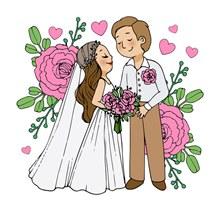 创意婚礼新人和粉玫瑰矢量图