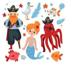 可爱美人鱼和海盗矢量图下载