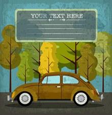 复古做旧效果轿车和树木图矢量下载