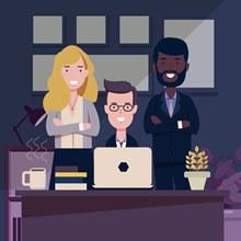 创意会议中的3个团队人物图矢量下载