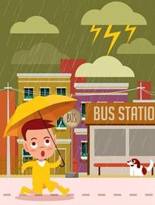 创意雨天撑伞赶回家的男孩图矢量图片