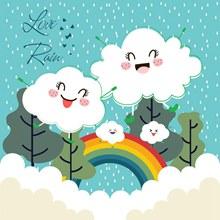 卡通云朵雨水彩虹矢量图片