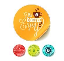 4款彩色圆形咖啡贴纸矢量素材