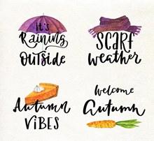 4款创意秋季艺术字矢量素材