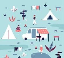 创意郊外野营人物场景矢量图片