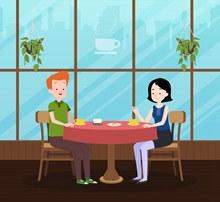 创意咖啡厅约会的男女矢量图片
