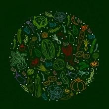 彩色蔬菜组合圆形矢量下载