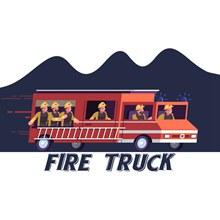 创意飞驰的消防车矢量图