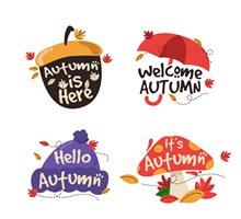 4款彩色秋季艺术字标签图矢量图片