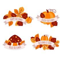 4款创意秋季树叶标签矢量下载