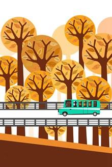 创意秋季桥上行驶的汽车矢量