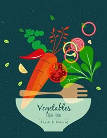 抽象新鲜素食插画矢量图