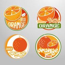 4款创意橙汁标签矢量