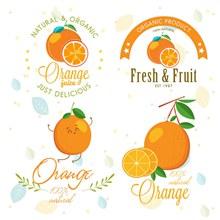 4款创意橙汁标志矢量