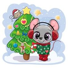 卡通圣诞树和老鼠矢量