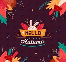 可爱秋季树叶和白兔矢量下载