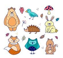 7款可爱秋季动物矢量图