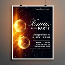 创意金色节日吊球圣诞派对海报图矢量下载