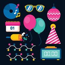 11款彩色新年元素矢量图