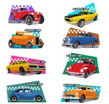 8款彩色复古轿车设计矢量图下载
