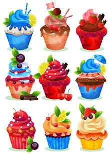 9款美味纸杯蛋糕设计矢量下载