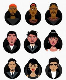 9款创意人物半身像矢量图片