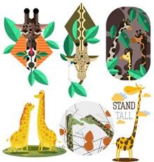 6组创意长颈鹿矢量图片