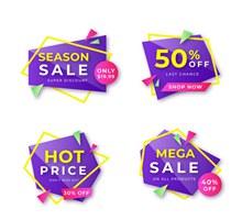 4款紫色促销标签矢量