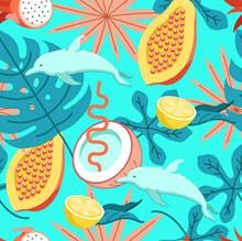 彩色热带水果和海豚无缝背景图矢量图片
