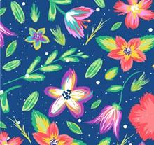 彩绘树叶和花卉背景矢量图