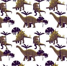 创意恐龙树木无缝背景图矢量