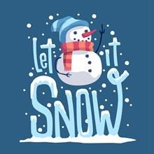 可爱雪人艺术字矢量