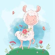 彩绘羊驼和花卉矢量素材
