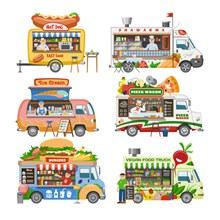 6款创意外卖快餐车设计矢量图