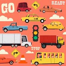 创意车辆交通阻塞场景矢量下载
