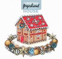 彩绘圣诞节姜饼屋和花环图矢量素材