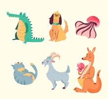 6款彩色动物设计矢量素材