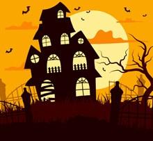 创意万圣夜墓地枯树房屋图矢量素材