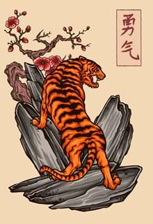 创意岩石上的老虎矢量