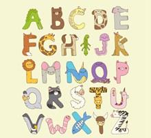 26个彩色动物字母艺术字图矢量图