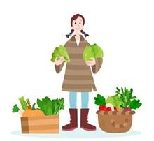 创意收获满篮蔬菜的女子图矢量图下载